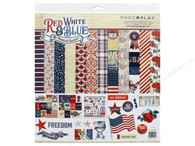 Photo Play Collection Red White Blue Collection Pack 12 in. x 12 in.