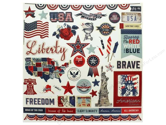 Photo Play Collection Red White Blue Sticker Elements 12 in. x 12 in. (12 pieces)