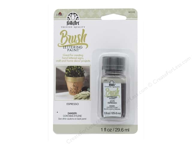 Plaid FolkArt Brush Lettering Paint 1 oz Card Espresso
