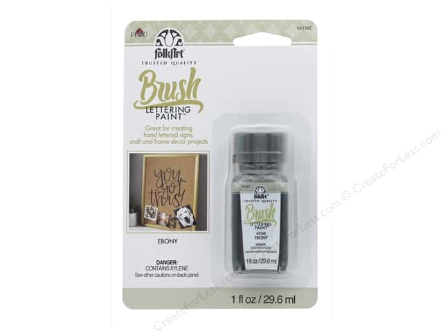 Plaid FolkArt Brush Lettering Paint 1 oz. Ebony