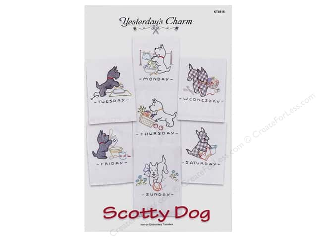 Yesterday's Charm Iron-On Embroidery Transfer - Scottie Dog
