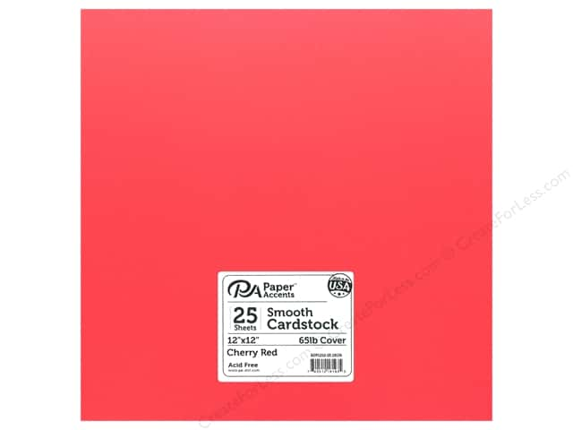 Paper Accents Cardstock 12 in. x 12 in. Smooth 65 lb Cherry Red (25 sheets)