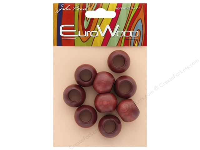 John Bead Wood Bead Round Large Hole 20 x 16 mm Mahogany