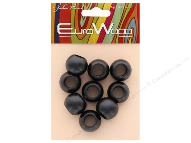 John Bead Wood Bead Round Large Hole 20 x 16 mm Black