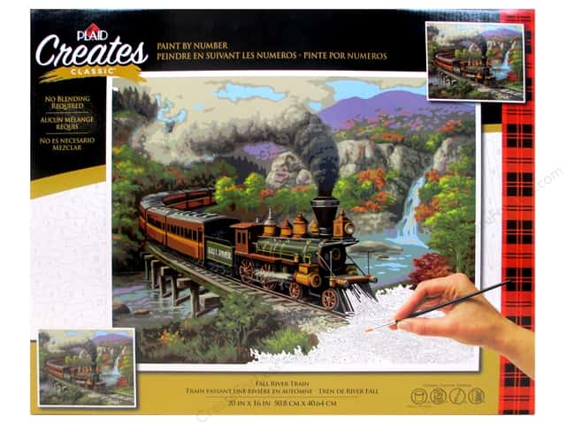 Plaid Paint By Number 20 in. x 16 in. Fall River Train