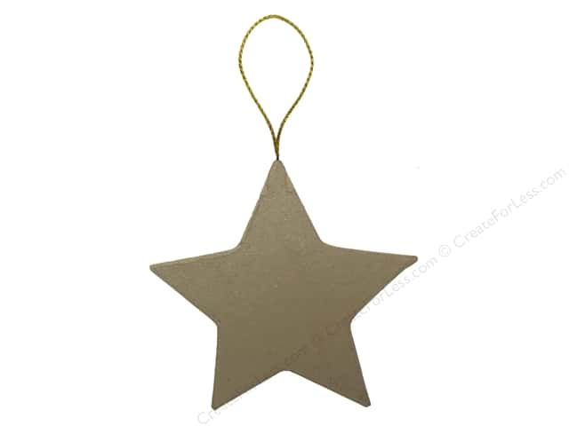PA Paper Mache Flat Star Ornament 3 3/4 in.