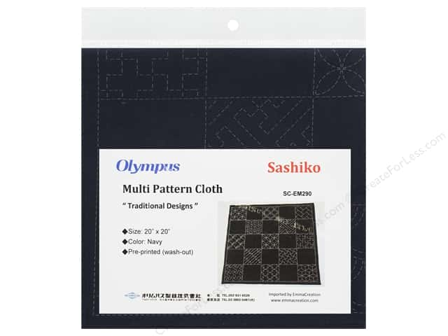 "Olympus Sashiko Cotton Cloth 20""x 20"" Pre Printed Navy"
