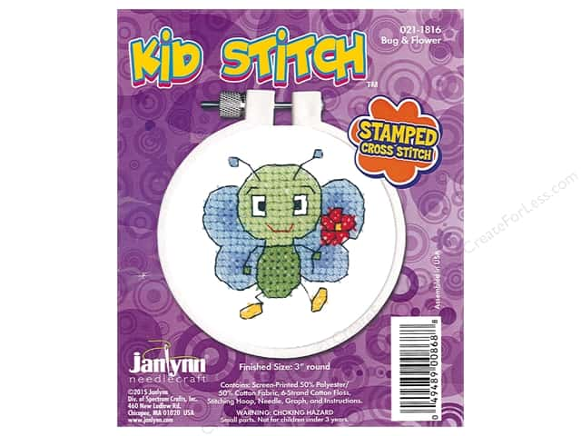 Janlynn Cross Stitch Kit Kid Stitch Bug & Flower