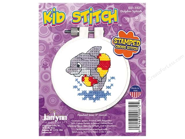 Janlynn Cross Stitch Kit Kid Stitch Dolphin Splash