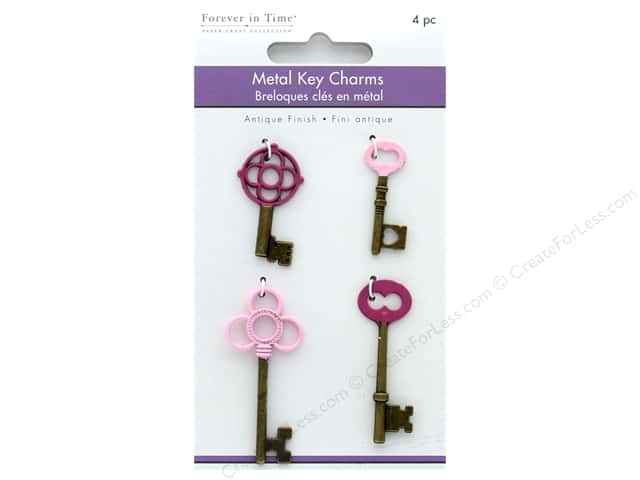 Multicraft Embellishments Metal Charms Antique Keys Pink