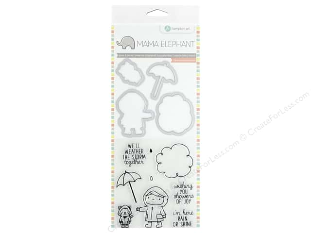 Mama Elephant Clear Stamp & Die Set Showers of Joy