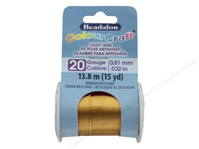 Beadalon ColourCraft Copper Wire 20 ga Brass Light 15 yd