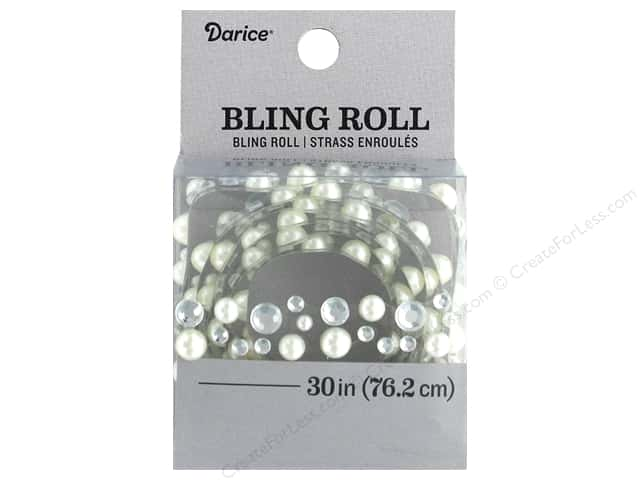 Darice Sticker Bling Roll Rhinestone Pearl/Crystal 30 in.