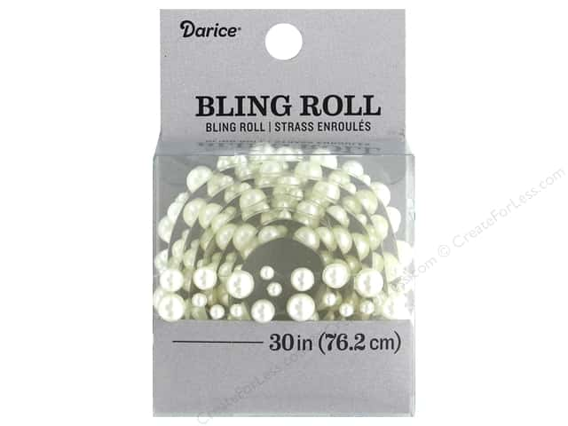 Darice Sticker Bling Roll White Pearl 30 in.