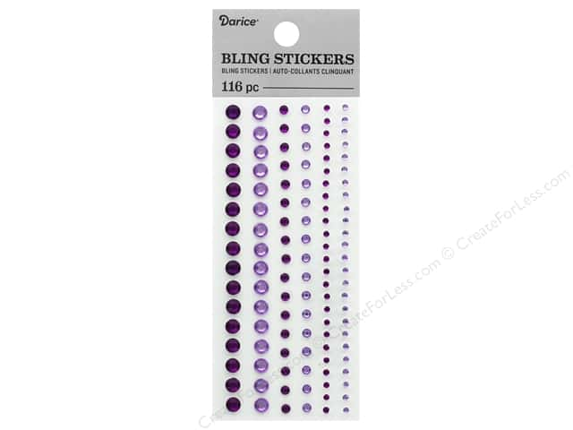 Darice Sticker Bling Round Assorted Purple 116 pc