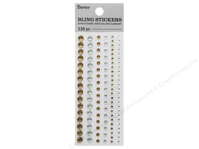 Darice Sticker Bling Round Assorted Iridescent Gold/Silver 116 pc