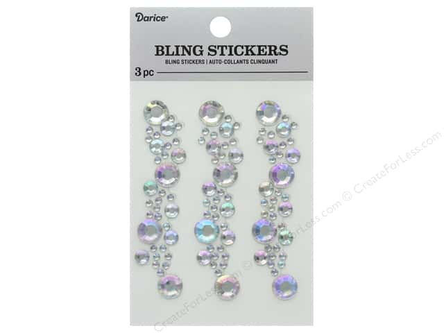 Darice Sticker Bling Strip 3 in. Iridescent Crystal 3 pc