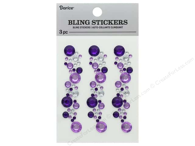 Darice Sticker Bling Strip 3 in. Purple/Crystal 3 pc