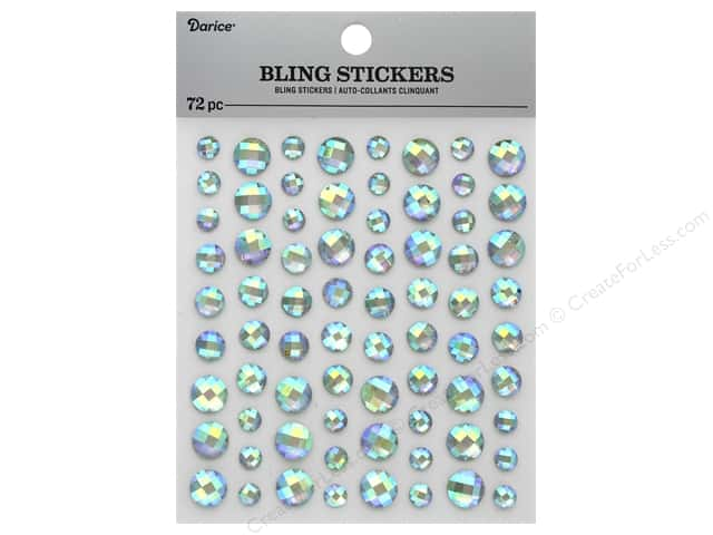 Darice Sticker Bling Rhinestone Iridescent Clear 72 pc