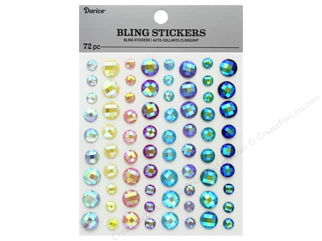Darice Sticker Bling Rhinestone Iridescent Pastel 72 pc