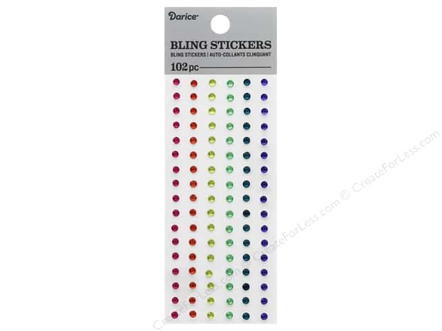 Darice Sticker Bling Rhinestone 3 mm Rainbow 102 pc