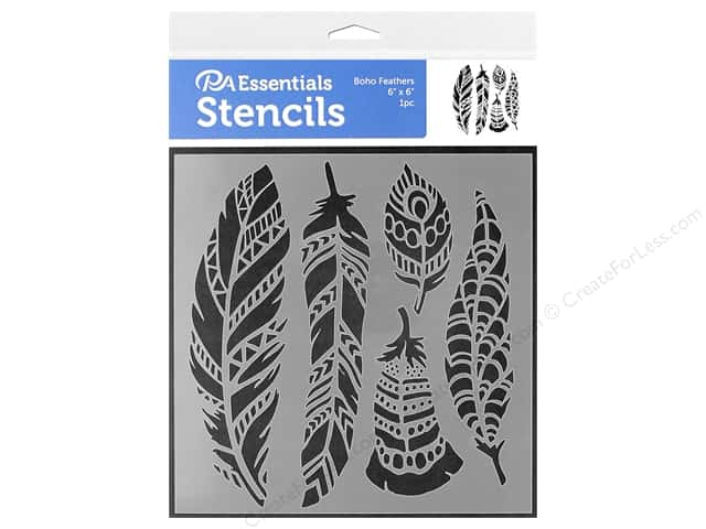 PA Essentials Stencil 6 in. x 6 in. Boho Feathers (3 pieces)