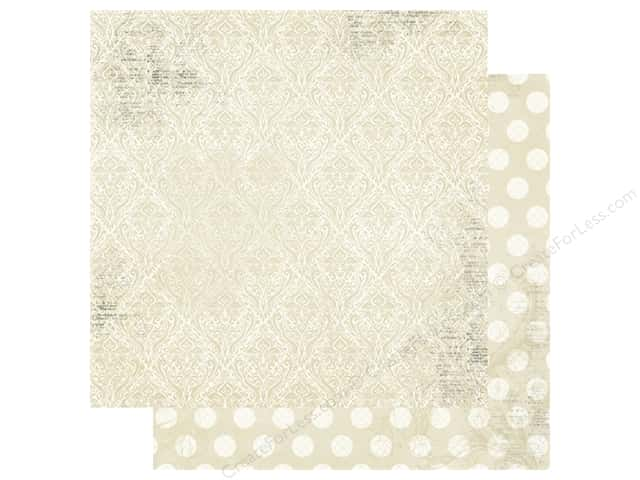 Bo Bunny Double Dot Damask Paper 12 in. x 12 in. French Vanilla (25 pieces)