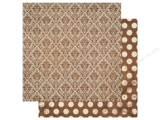 Bo Bunny Double Dot Damask Paper 12 in. x 12 in. Chocolate
