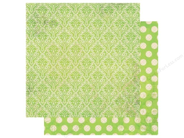 Bo Bunny Double Dot Damask Paper 12 in. x 12 in. Kiwi (25 pieces)