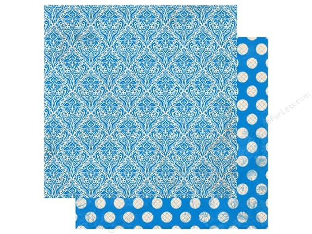 Bo Bunny Double Dot Damask Paper 12 in. x 12 in. Brilliant Blue (25 pieces)