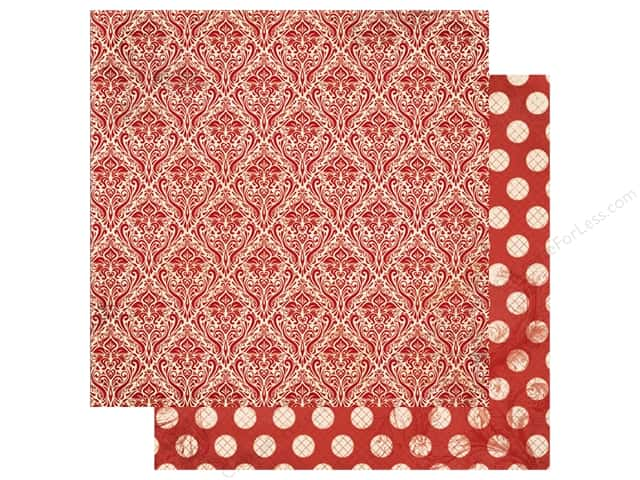 Bo Bunny Double Dot Damask Paper 12 in. x 12 in. Wild Berry (25 pieces)