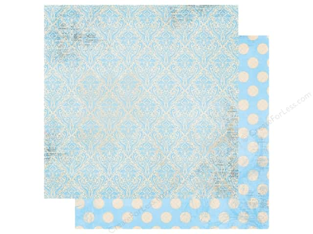 Bo Bunny Double Dot Damask Paper 12 in. x 12 in. Powder Blue (25 pieces)