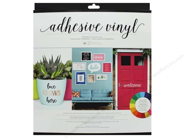 American Crafts Adhesive Sheet Vinyl 12 in. x 12 in. Combo Pack 40 pc Assorted Bright