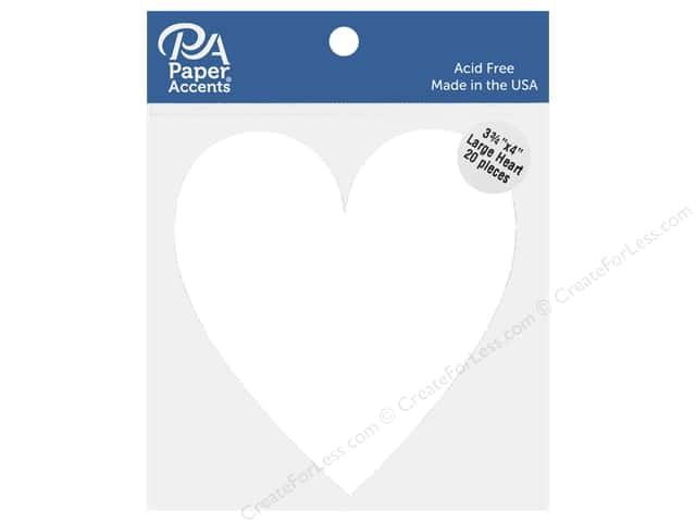 Paper Accents Cardstock Shape Large Heart 3.75 in. x 4 in. White 20 pc