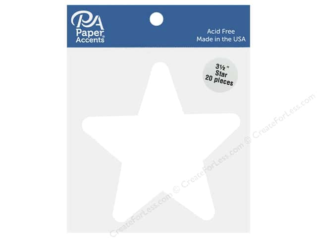 Paper Accents Cardstock Shape Star 3.5 in. White 20 pc