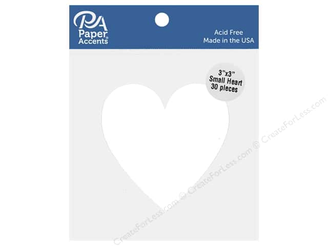 Paper Accents Cardstock Shape Small Heart 3 in. x 3 in.  White 30 pc