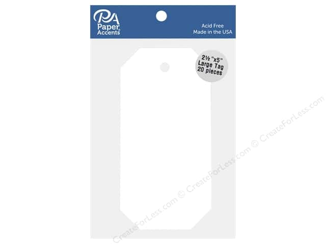 """Paper Accents Large Tag 2.5""""x 5"""" White 20pc"""