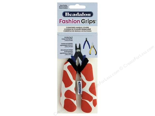 Beadalon Tool Fashion Grips Cover Medium Giraffe Orange 2 pc