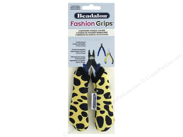 Beadalon Tool Fashion Grips Cover Medium Cheetah Yellow 2 pc