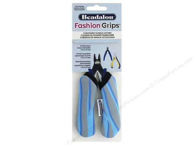 Beadalon Tool Fashion Grips Cover Medium Tiger Blue 2 pc