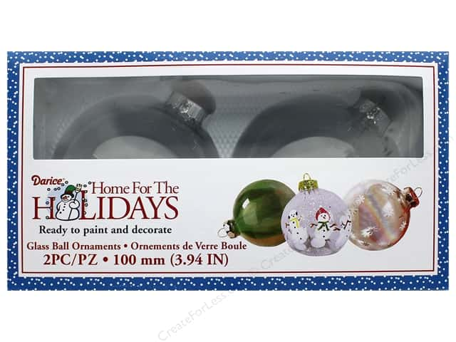 Darice Decor Holiday Glass Ornament Ball 3.94 in. 2 pc