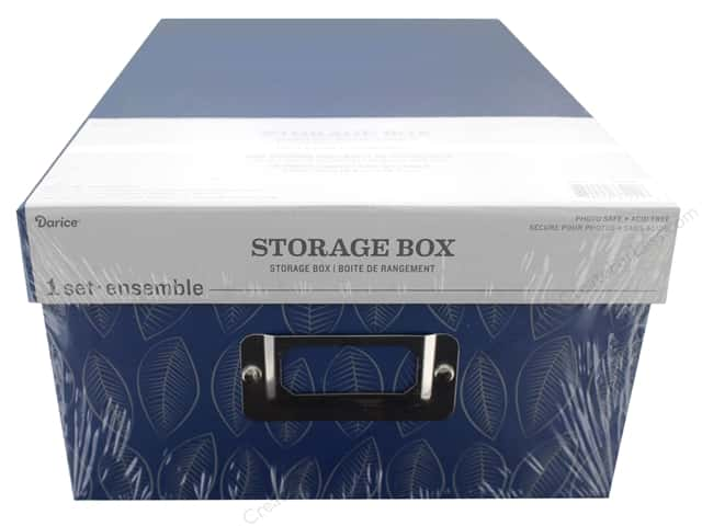 Darice Organizer Storage Photo Box 7.5 in. x 4 in. x 11 in. Blue Leaves