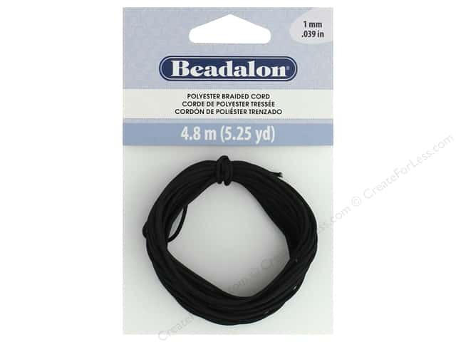 Beadalon Cord Poly Braided 1mm 5.25yd Black