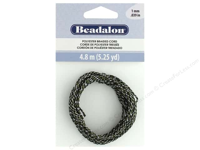 Beadalon Cord Poly Braided 1mm 5.25yd Black, Green, White