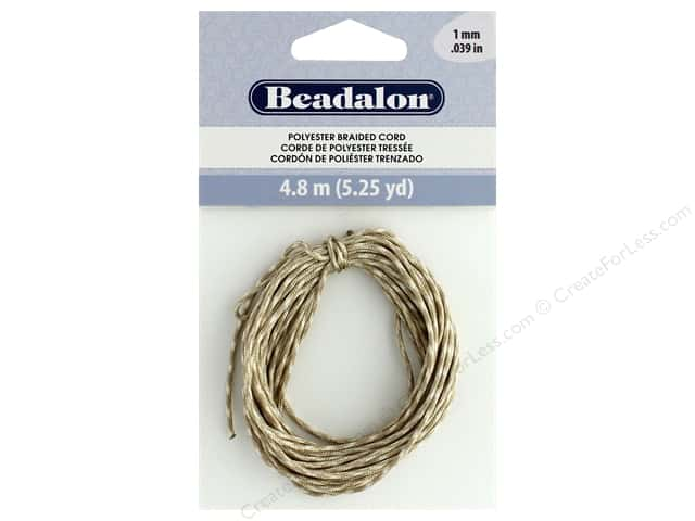 Beadalon Cord Poly Braided 1mm 5.25yd Tan & White