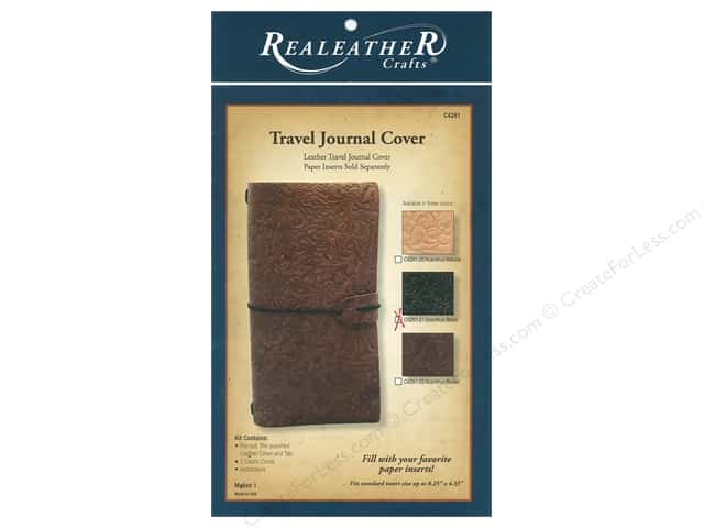REALEATHER Travel Journal Cover Acanthus Black