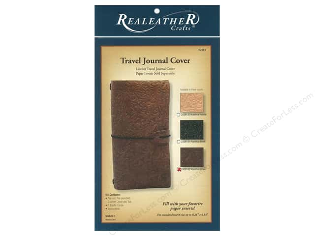 REALEATHER Travel Journal Cover Acanthus Brown