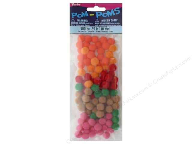 Darice Pom Poms 10 mm Assorted Fall 100 pc