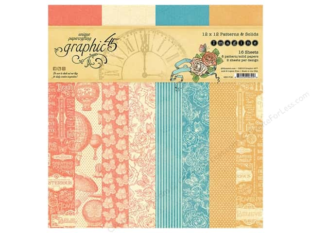 Graphic 45 12 x 12 in. Paper Pad Imagine Patterns & Solids
