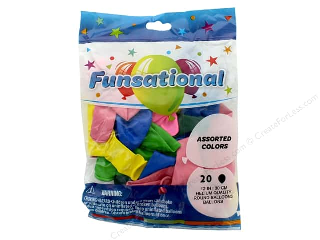 Pioneer Funsational Balloons 12 in. 20 pc. Assorted